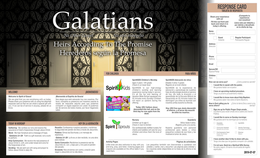 2019-07-07 Bulletin - Galatians 3 - Heirs according to the Promise